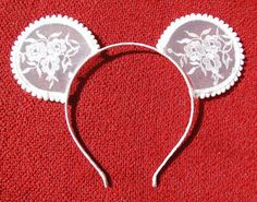 white embroidery flower lace mickey mouse ear hairband by lune2011, $44.95