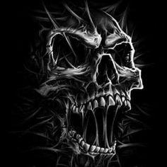 """unusual sky drawing: """"DEATH Skull"""" by Adrian Balderrama Evil Skull Tattoo, Skull Tattoo Design, Skull Design, Skull Tattoos, Body Art Tattoos, Sleeve Tattoos, Biker Tattoos, Panzer Tattoo, Art Harley Davidson"""