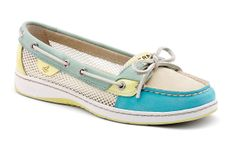 Sperry Top-Sider - Women's Angelfish Slip-On Boat Shoe in Turquoise White & Lime. SO CUTE!!!