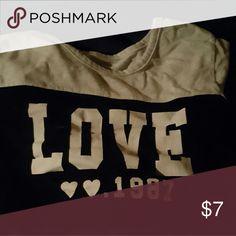 Love graphic teeshirt Medium black and white teeshirt, cute Tops Tees - Short Sleeve