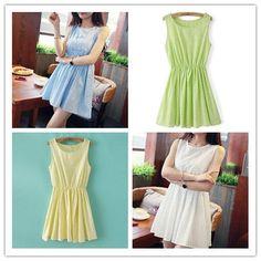 Blue/White/Green/Yellow Colors Pastel Mori Girl Floral Sleeveless Dress SP151946