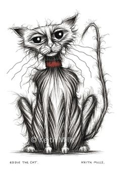 Eddie the cat Print download Nasty shabby scruffy pet puss kitty pussycat moggie with thin tail and grumpy face in a bad mood Animal image by KeithMills on Etsy