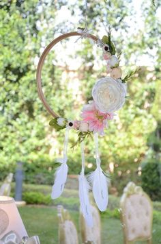 whimsical-spring-swing-celebration-dreamcatcher Boho Baby Shower, Baby Shower Favors, Baby Shower Parties, Baby Shower Decorations, Wild One Birthday Party, 13th Birthday Parties, Festa Pow Wow, Festival Themed Party, Pink Themes