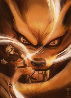 <3 Naruto & Kurama - by Julie Almoneda, ArtStation