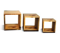 Reclaim Wood Storage Cubes - three nested storage cubes --- Modular Storage Cube - made sustainably from ponderosa pine , eco-friendly rustic