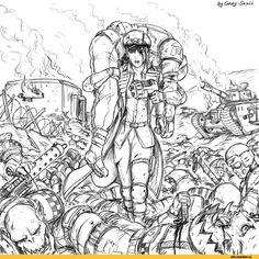Warhammer 40000,warhammer40000, warhammer40k, warhammer 40k, ваха, сорокотысячник,фэндомы,Commissar (wh 40000),Astra Militarum,Imperial Guard, ig,Imperium,Империум,Cadian,Orks,Gray-Skull,Leman Russ (tank),Комиссар Райвель,Wh Комиксы
