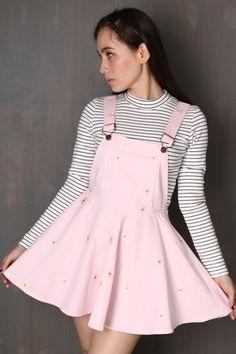 Glitters For Dinner — Pale Pink Daisy Pinafore Harajuku Fashion, Kawaii Fashion, Cute Fashion, Fashion Outfits, Pastel Outfit, Girly Outfits, Cute Outfits, Cute Skirts, Cute Dresses