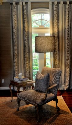 Tab top draperies - Love the linen draperies and the chair