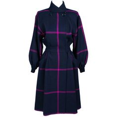 Preowned Vintage Valentino Boutique Coat Or Coat Dress Plaid Wool ($795) ❤ liked on Polyvore featuring outerwear, coats, dresses, black, vintage coat, wool coat, plaid wool coat, tartan coat and leather-sleeve coats
