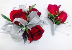 Silver and Red Roses Corsage and Boutonnière with silver ribbon and rhinestone accents on a beautiful rhinestone bracelet. #prom #corsage #grad #redandsilver