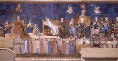 Allegory of Good Government  Ambrogio Lorenzetti 1339  This fresco on the walls of the Room of the Nine (Sala dei Nove) or Room of Peace (Sala della Pace) in the Palazzo Pubblico of Siena is one of the masterworks of early Renaissance secular painting.  The Allegory and Effects of Good and Bad Government series was commissioned entirely by a civic group the Council of Nine (the city council). The subject matter in this work is not religious like most artworks of the time but civic. The…