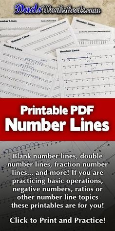 Dozens of printable number lines for a variety of math problems! A printable number line is a great resource for teaching a wide variety of math topics. Numbers can seem very abstract, and many of the procedures we use to teach math operations are sometimes more formulaic... Getting kids to understand the flow of a sequence of numbers, navigating by addint or subtracting place values or just moving across zero into the realm of negative numbers can be helped greatly with a number line. Printable Number Line, Free Printable Numbers, Free Printable Math Worksheets, Math Games For Kids, Fun Math Activities, Math Resources, Finding Equivalent Fractions, Learning Fractions, Positive Numbers