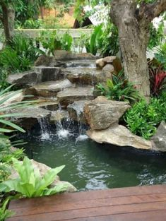 Small Waterfall Pond Landscaping For Backyard Decor Ideas 52 Backyard Garden Landscape, Pond Landscaping, Ponds Backyard, Backyard Waterfalls, Backyard Patio, Garden Ponds, Waterfall Landscaping, Tropical Backyard, Rain Garden