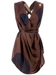 Brown silk sleeveless blouse from Gustavo Lins featuring a plunge neck, a draped design, double black thin straps to the waist, an open back with a crossover strap design and a tie knot black strap detail to the waist