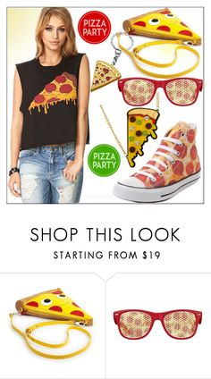 """Pizza Party!"" by whirlypath ❤ liked on Polyvore featuring Converse"