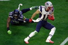 Julian Edelman.  Patriots vs. Seahawks: Super Bowl XLIX The New England Patriots take on the Seattle Seahawks in Super Bowl XLIX at University of Phoenix Stadium on Sunday, February 1, 2015.