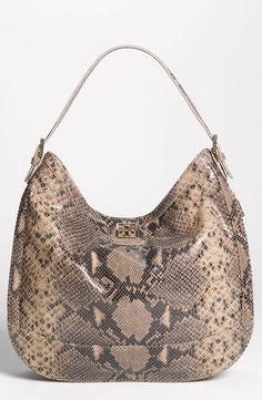 The perfect statement bag | Tory Burch Python Print Leather Hobo