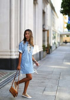 Forever DenimSTORETS Forever Jane denim dress CHLOE Faye bag COMMON PROJECTS sneakers Fashion By Sincerely Jules