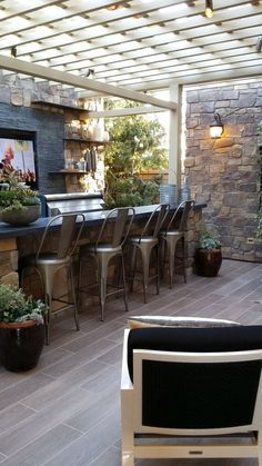 Outdoor bar, outdoor kitchen, pergola, outdoor room, TG interiors: Model Homes in Orange County and Shopping Outside Living, Outdoor Living Areas, Outdoor Rooms, Outdoor Decor, Living Spaces, Indoor Outdoor, Outdoor Bar Areas, Rustic Outdoor Bar, Outdoor Showers