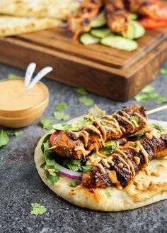 Grilled Chicken Naan Wrap with Roasted Red Pepper Tahini Sauce