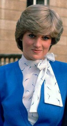 Lady Diana Spencer wearing blue & white on the day her engagement to Prince Charles was announced officially.