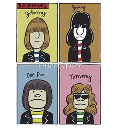 Concert goers encounter so many stickers and merch so you have to make sure that yours stands out. Here are some examples of really awesome band stickers. Tommy Ramone, Band Stickers, Dee Dee, Ramones, Cool Bands, Emoji, Letting Go, Peanuts Comics, Punk