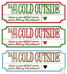 "Cute hot cocoa gift ""free printable"" label"