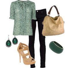 Green & beige