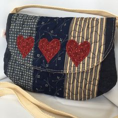 Navy blue patchwork purse bag by DaisyPatchUK on Etsy