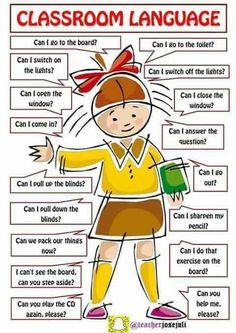 The language spoken in the lessons is English. Here are some phrases you should know, understand, or be able to use. # learn english words classroom Classroom Language For Teachers and Students of English - ESLBuzz Learning English Learning English For Kids, Teaching English Grammar, English Worksheets For Kids, English Lessons For Kids, English Writing Skills, Kids English, English Vocabulary Words, Learn English Words, English Phrases