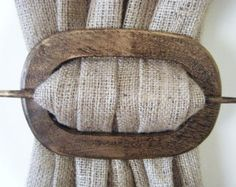 burlap curtains | Curtain Holdback in Oval Distressed Wood Finish at Curtains by Jackie ...