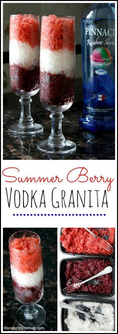 Summer Berry Vodka Granita Recipe - red, white, & blue drink and dessert for 4th of July or summer party! SnappyGourmet.com