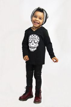 Hooded Skull Shirt - Dia De Los Muertos - Sugar Skull -Kids Shirt - Infant - Baby - Toddler - Funny Shirt - Graphic Tee - Halloween by BGatsbyGifts on Etsy https://www.etsy.com/listing/246131282/hooded-skull-shirt-dia-de-los-muertos