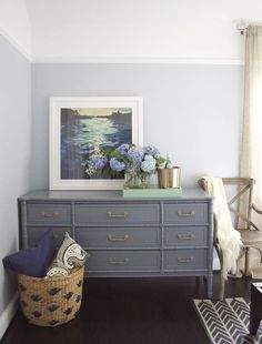 painted bamboo chest, gray, gold