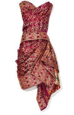 Marchesa Strapless Sari Cocktail Dress