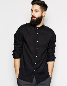 Image 1 of ASOS Shirt In Long Sleeve With Linen Mix And Grandad Collar