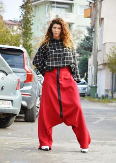 Wool Red Low Crotch Pants Extravagant Loose Harem Trousers