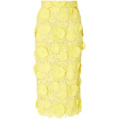 Alcoolique Araka Floral Skirt ($440) ❤ liked on Polyvore featuring skirts, yellow, yellow knee length skirt, yellow skirt, yellow high waisted skirt, high waisted pencil skirt and floral skirts