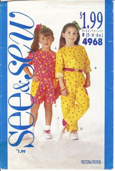 Vintage Sewing Patterns -- For Girls sizes 5, 6, and 6x. See & Sew by Butterick vintage sewing pattern 4968, copyright 1990, is a gently used sewing pattern for children. All pieces are in the envelope as well as the instructions. The girl's sewing pattern is a semi-fit, pullover top, with a back neck slit, and above elbow or long sleeves rolled-up (wrong side shows).  by NookCove, $4.00