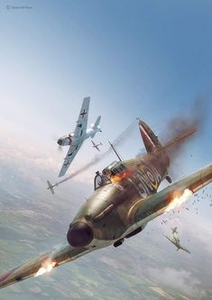 Commisioned illustration for Battle of Britain Combat Archive Vol. 5 by Simon W. models by Wojciech Kliment Niewęgłowski. Scene, textures and illustration by Piotr Forkasiewicz. Copyright by Simon W. Ww2 Fighter Planes, Ww2 Planes, Fighter Aircraft, Fighter Jets, Luftwaffe, Ww2 Aircraft, Military Aircraft, The Art Of Flight, War Thunder