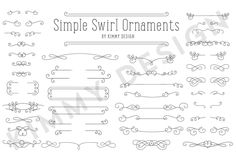 Enjoy this lovely collection of swirly ornaments. These vector objects are filled and can be sized to any scale. NOTE: I have revised the package to include a PSD layered file as well as a