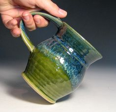 Coffee mug stoneware green moss blue hughes pottery wheel thrown ready to ship