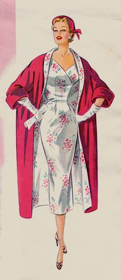 35b78cd50a4 Vintage Sewing Pattern Evening coat is perfect in red peau de soie or  bridal satin. Dress is perfected in a printed floral silk.