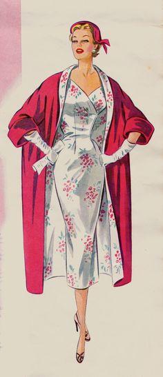 Típico vestido, con abrigo combinado, años 1950