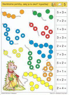 Soubor Logico Piccolo Začínáme počítat  - Čísla do 10, část 2 Soubor obsahuje 16 hracích karet, vždy s 10 úkoly. Karta se zasune do  rámečku a barevné knoflíky se