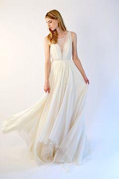 Lace illusion and silk chiffon gown Colette por Leanimal en Etsy