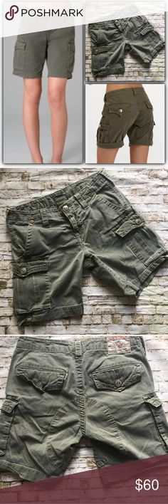 True Religion Jenna olive fatigue cargo shorts Light olive Jenna cargo short by True Religion. Well loved but in good condition. Lighter than the stock images. No stains, holes. These are the perfect wear with everything olive drab color. Sz 25. True Religion Shorts Cargos