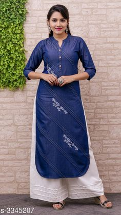 Kurti set: variable free COD Price variable: Enquiry and booking on Cash on Delivery availab. Denim Kurti Designs, Plain Kurti Designs, Simple Kurta Designs, Stylish Dress Designs, Kurta Designs Women, New Kurti Designs, Kurti Sleeves Design, Kurta Neck Design, Kurti Embroidery Design