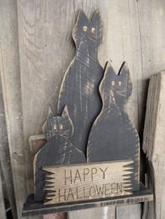 Primitive Halloween Black Cats...