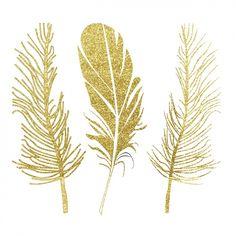 conception de plumes d'or Vecteur gratuit